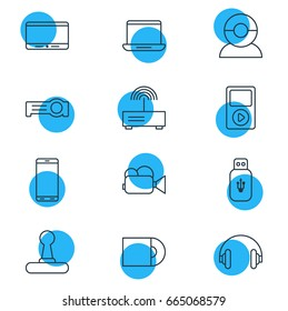 Vector Illustration Of 12 Hardware Icons. Editable Pack Of Video Chat, Usb Card, Camcorder And Other Elements.