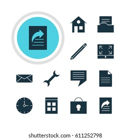 Vector Illustration Of 12 Internet Icons. Editable Pack Of Maximize, Document Directory, Document And Other Elements.