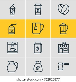 Vector Illustration Of 12 Java Outline Icons. Editable Set Of Soft Beverage, Coffee To Go, Turkish And Other Elements.