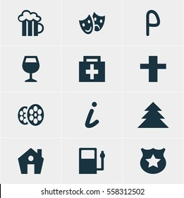 Vector Illustration Of 12 Map Icons. Editable Pack Of Drugstore, Masks, Map Information And Other Elements.