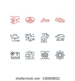 Vector illustration of 12 marine icons line style. Editable set of ship rudder, sea horse, dolphin and other icon elements.