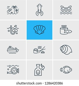 Vector illustration of 12 marine icons line style. Editable set of ship, flatfish, canoe and other icon elements.