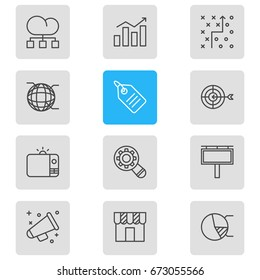 Vector Illustration Of 12 Marketing Icons. Editable Pack Of Discount Label, Statistics, Circle Diagram And Other Elements.