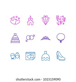 Vector illustration of 12 marriage icons line style. Editable set of heeled shoes, hearts, groom suit and other icon elements.