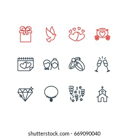Vector Illustration Of 12 Marriage Icons. Editable Pack Of Love, Building, Wineglass And Other Elements.