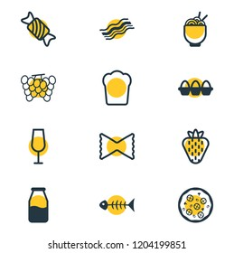 Vector illustration of 12 meal icons line style. Editable set of spaghetti, grape, strawberry and other icon elements.
