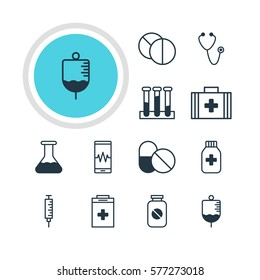 Vector Illustration Of 12 Medical Icons. Editable Pack Of Vaccinator, Flask, Aspirin And Other Elements.