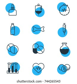 Vector Illustration Of 12 Medical Icons. Editable Pack Of Painkiller, Experiment Flask, Antibody And Other Elements.