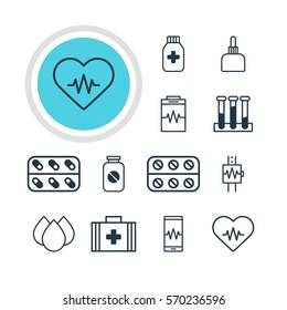 Vector Illustration Of 12 Medicine Icons. Editable Pack Of Experiment Flask, Treatment, Medical Bag And Other Elements.