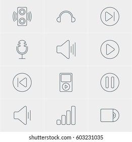 Vector Illustration Of 12 Melody Icons. Editable Pack Of Acoustic, Subsequent, Earphone And Other Elements.