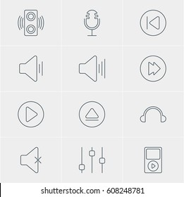 Vector Illustration Of 12 Melody Icons. Editable Pack Of Earphone, Soundless, Amplifier And Other Elements.