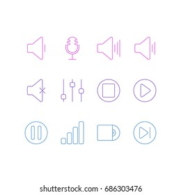 Vector Illustration Of 12 Melody Icons. Editable Pack Of Lag, Volume Up, Start And Other Elements.