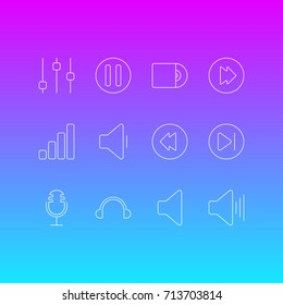 Vector Illustration Of 12 Melody Icons. Editable Pack Of Lag, Decrease Sound, Speaker And Other Elements.