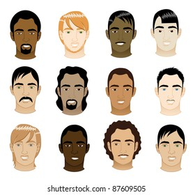 Vector Illustration of 12 men faces. Men Faces #5.