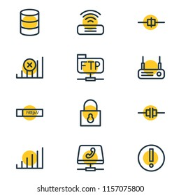 Vector illustration of 12 network icons line style. Editable set of connected, file transfer protocol, voip gateway and other icon elements.