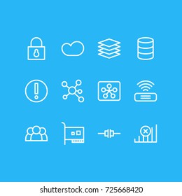 Vector Illustration Of 12 Network Icons. Editable Pack Of Mistake, Card, Database And Other Elements.