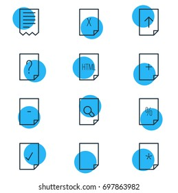 Vector Illustration Of 12 Page Icons. Editable Pack Of Question, Search, Basic And Other Elements.