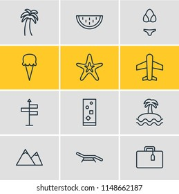 Vector illustration of 12 season icons line style. Editable set of plane, soft drink, beach bench and other icon elements.