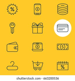 Vector Illustration Of 12 Trading Icons. Editable Pack Of Minus, Buy, Present And Other Elements.