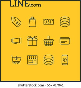 Vector Illustration Of 12 Trading Icons. Editable Pack Of Advertising, Tag, Buy And Other Elements.