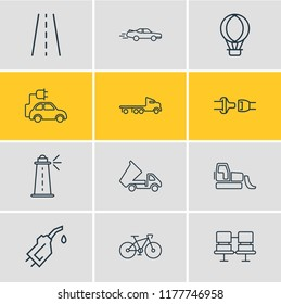 Vector illustration of 12 transportation icons line style. Editable set of flatbed truck, seat belt, dump truck and other icon elements.
