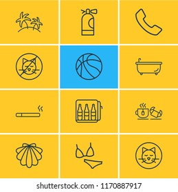 Vector illustration of 12 vacation icons line style. Editable set of seashell, basketball, minibar and other icon elements.