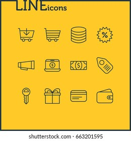 Vector Illustration Of 12 Wholesale Icons. Editable Pack Of Money, Clef, Tag And Other Elements.