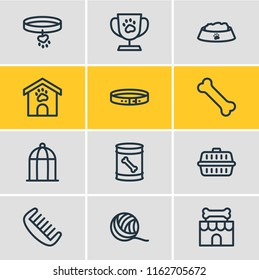 Vector illustration of 12 zoo icons line style. Editable set of collar, birdcage, dog food in can and other icon elements.