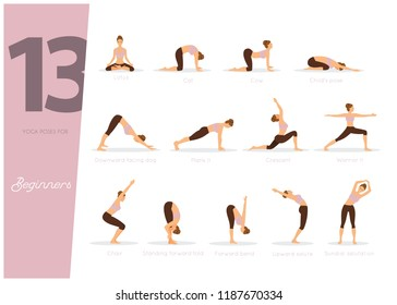 Vector illustration of 13 Yoga poses for beginners