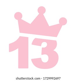 Vector illustration of 13th birthday pink icon - Number thirteen with a crown