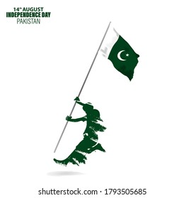 Vector Illustration for 14th August Independence day of Pakistan. Rejoicing boy jumping with Pakistan flag in hand.