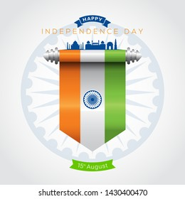 Vector illustration of 15th august text and Ashoka wheel India happy independence day greeting card. 72 years of freedom india