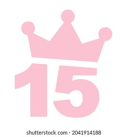 Vector illustration of 15th birthday party pink clip art icon - Number fifteen with a crown