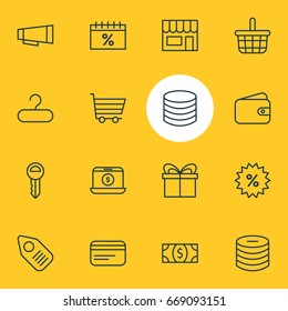 Vector Illustration Of 16 Commerce Icons. Editable Pack Of Trading, Payment, Sales And Other Elements.