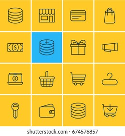 Vector Illustration Of 16 Commerce Icons. Editable Pack Of Trading, Rack, Pocketbook And Other Elements.