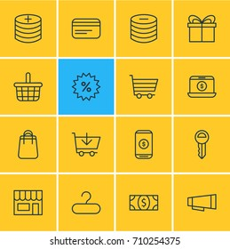 Vector Illustration Of 16 Commerce Icons. Editable Pack Of Sales, Advertising, Clef And Other Elements.