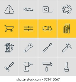 Vector Illustration Of 16 Construction Icons. Editable Pack Of Measure Tape, Barrier, Turn Screw And Other Elements.