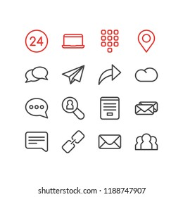 Vector illustration of 16 contact icons line style. Editable set of correspondence, team, share and other icon elements.