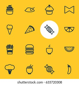 Vector Illustration Of 16 Cuisine Icons. Editable Pack Of Bowl, Spaghetti, Lime And Other Elements.