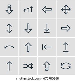 Vector Illustration Of 16 Direction Icons. Editable Pack Of Undo, Download, Down And Other Elements.