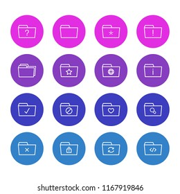 Vector illustration of 16 document icons line style. Editable set of delete, dossier, checked and other icon elements.