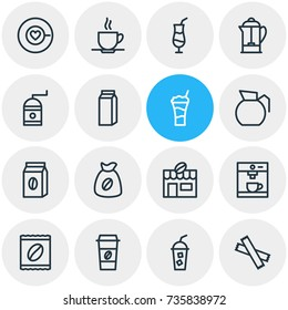 Vector Illustration Of 16 Drink Icons. Editable Pack Of Mill, Drink Pot, Package And Other Elements.