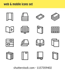 Vector illustration of 16 education icons line style. Editable set of magazine, dictionary, document and other icon elements.