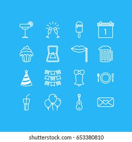 Vector Illustration Of 16 Feast Icons. Editable Pack Of Date Block, Decoration, Jingle And Other Elements.
