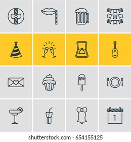 Vector Illustration Of 16 Feast Icons. Editable Pack Of Gift, Cap, Cupcake And Other Elements.