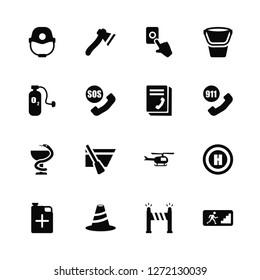 Vector Illustration Of 16 Icons. Editable Pack Firefighter helmet, Road blockade, Bollard, Jerrycan, Helipad, Emergency, Oxygen, Medical, Phonebook