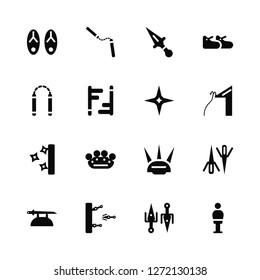 Vector Illustration Of 16 Icons. Editable Pack Sandals, Sai, Training, Katana, Knife, Dummy, Nunchaku, Shuriken