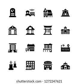 Vector Illustration Of 16 Icons. Editable Pack Islamic Cemetery, Prison, Hospital, Christian Goverment Building, Museum, Embassy, Chinese Temple