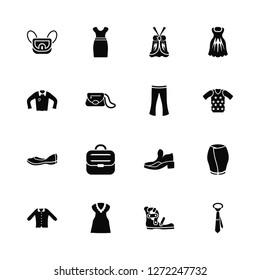 Vector Illustration Of 16 Icons. Editable Pack Messenger Bag, Gladiator Sandal, Dress with Butterfly Sleeves, Collarless Cotton Shirt, Peplum Skirt, Tie, Henley shirt, Loafer, Flare Pants