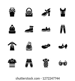 Vector Illustration Of 16 Icons. Editable Pack Peplum Skirt, Dress, Pants, V Neck Shirt, Flat Shoes, Shutter Sunglasses, Winter Hat, Chiffon Sleepers